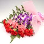 カーネーションと洋らんの花束